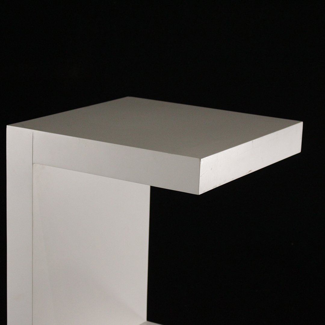 Mid-Century Modern White Formica Floating Stand - 2