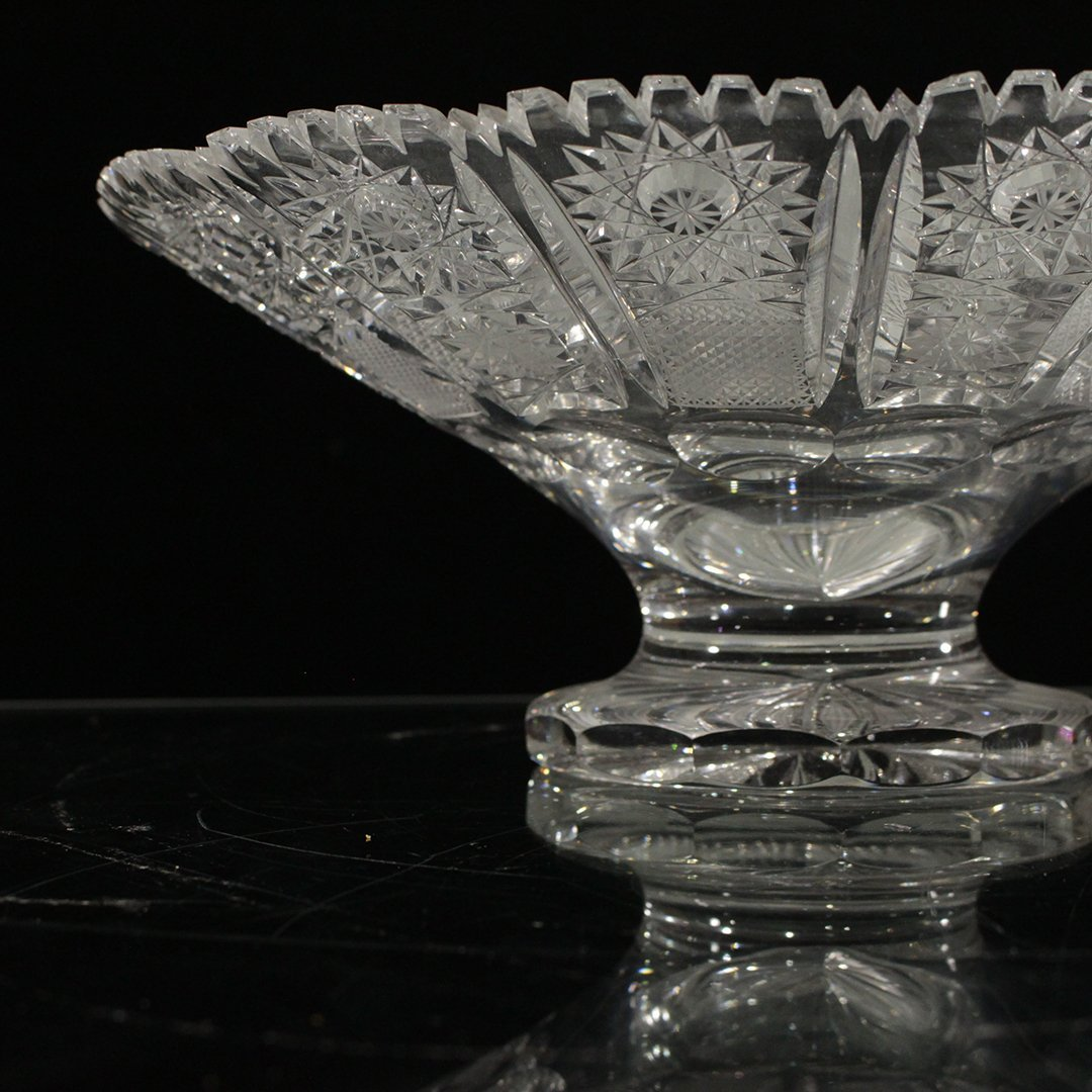 American Brilliant Cut Glass Footed Compote - 4
