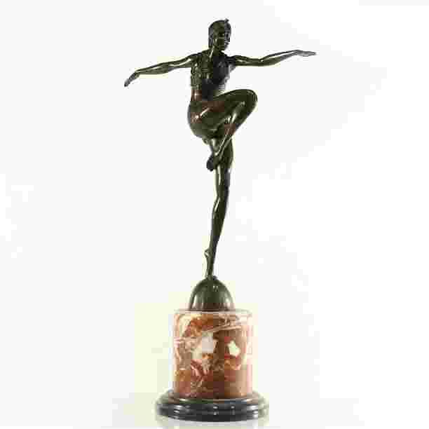 J. Philipp, Bronze Garanti Paris, Deco Dancer Sculpture