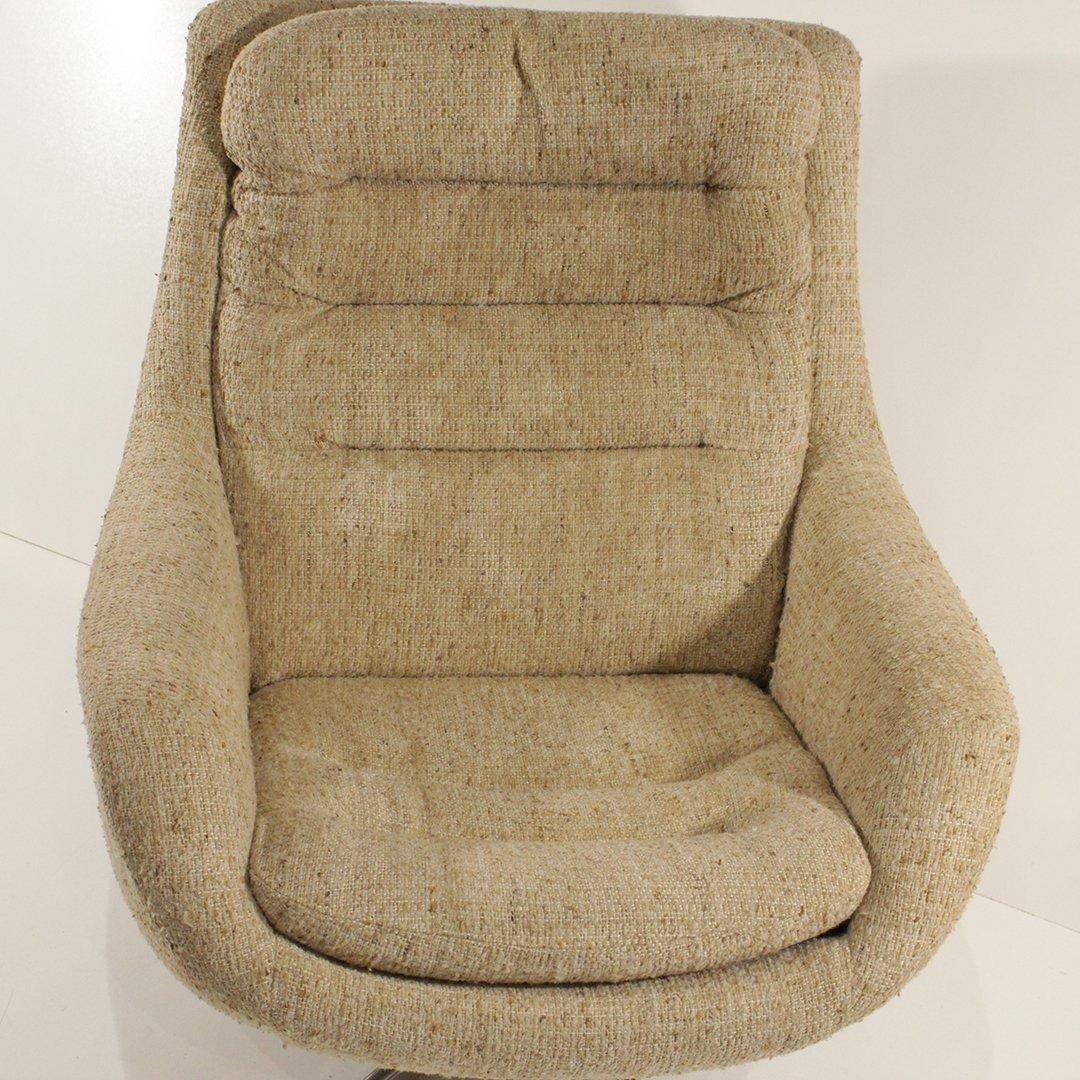 Mid-Century Modern Upholstered Swivel Lounge Chair - 4