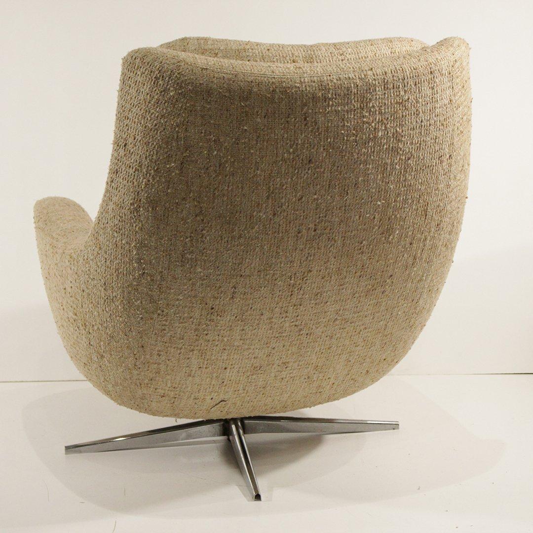 Mid-Century Modern Upholstered Swivel Lounge Chair - 6