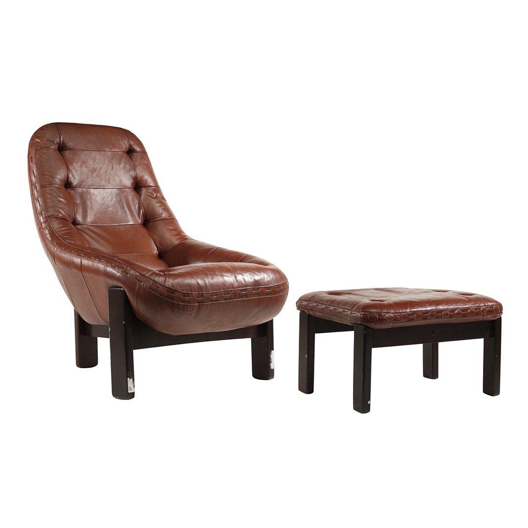 Probel, Brazil Mid-Century Leather Lounge Chair Ottoman