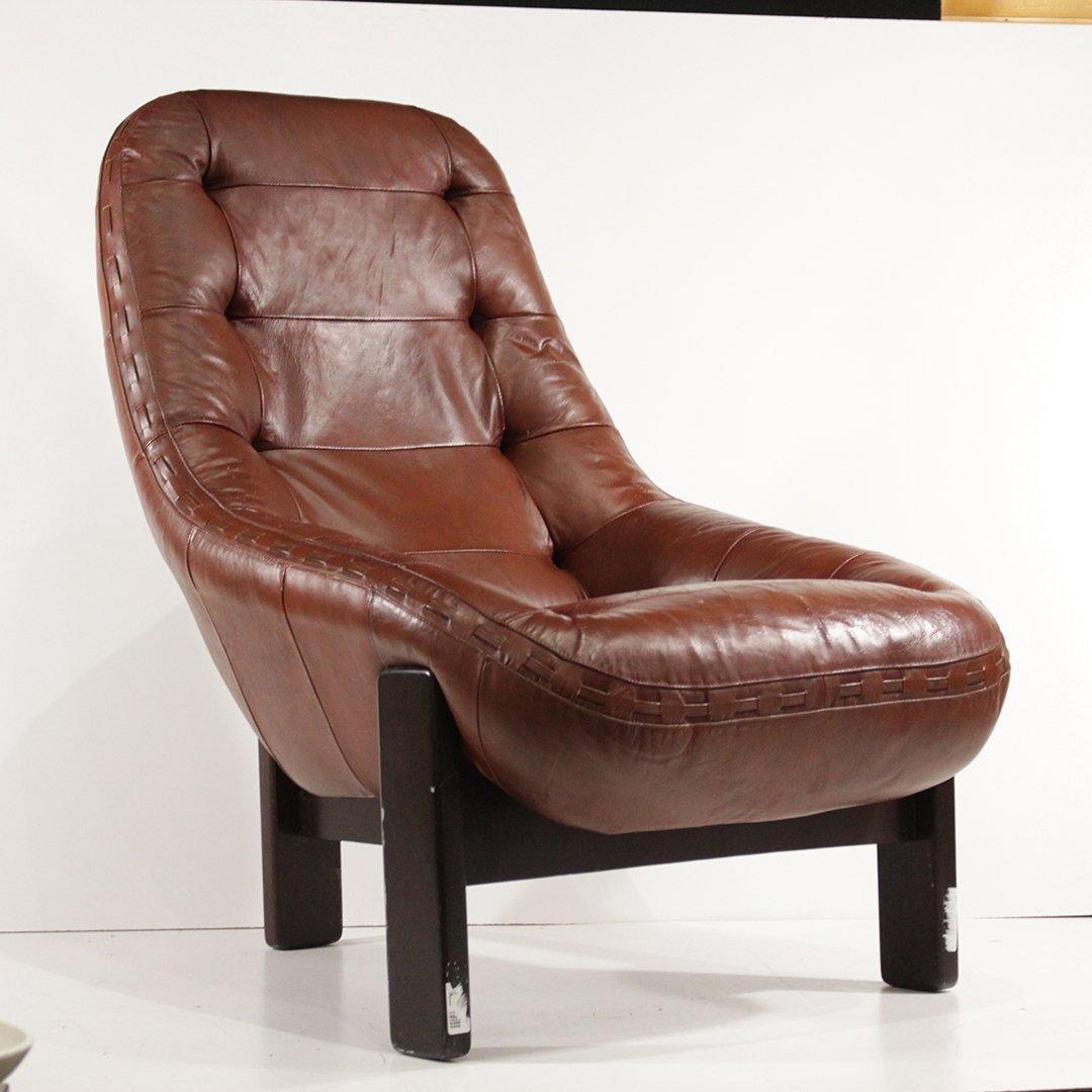 Probel, Brazil Mid-Century Leather Lounge Chair Ottoman - 2