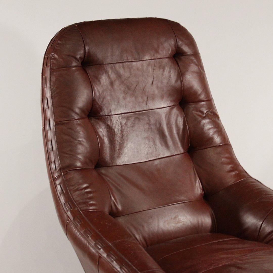 Probel, Brazil Mid-Century Leather Lounge Chair Ottoman - 5