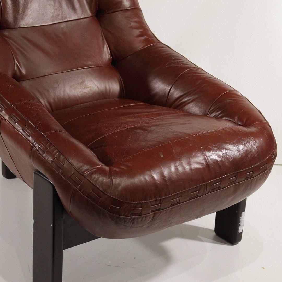 Probel, Brazil Mid-Century Leather Lounge Chair Ottoman - 6