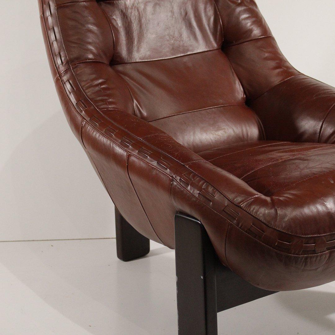 Probel, Brazil Mid-Century Leather Lounge Chair Ottoman - 7