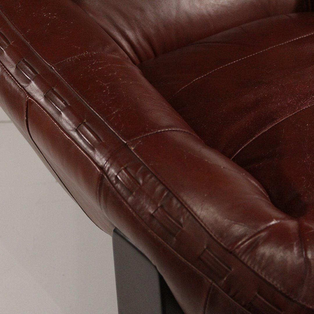 Probel, Brazil Mid-Century Leather Lounge Chair Ottoman - 8