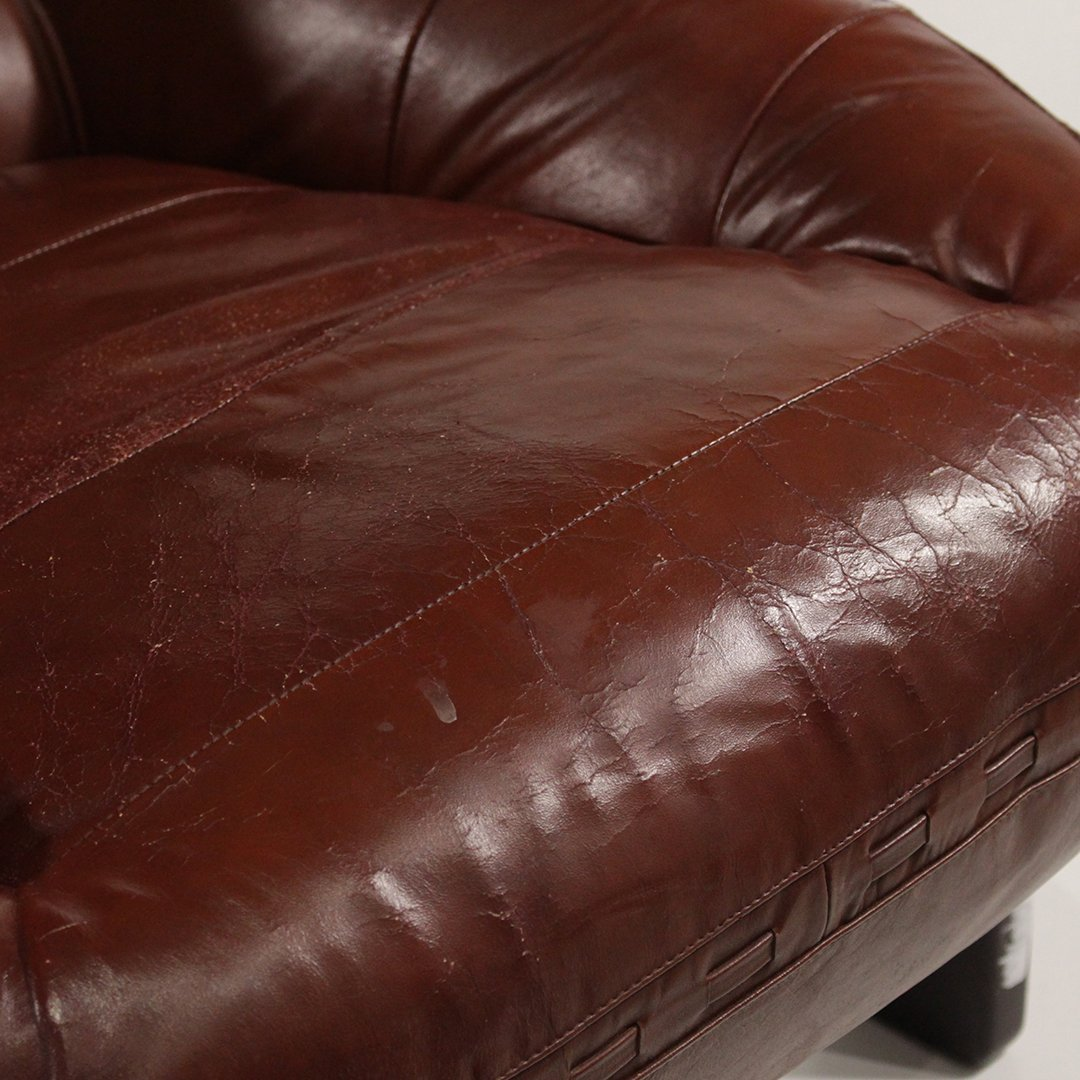 Probel, Brazil Mid-Century Leather Lounge Chair Ottoman - 9