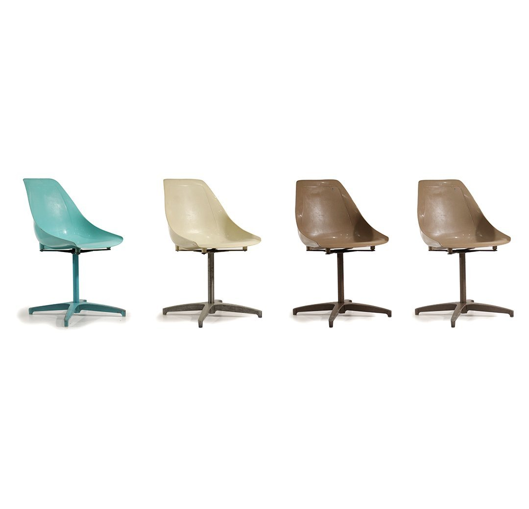 Four [4] Mid-Century Modern Molded Shell Chairs U.S.A.