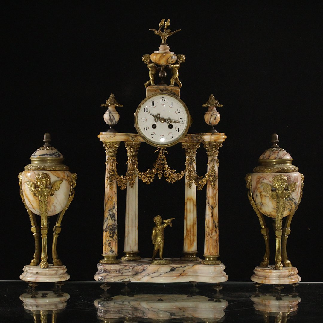 3-Piece 19th C Marble & Bronze French Empire Clock Set