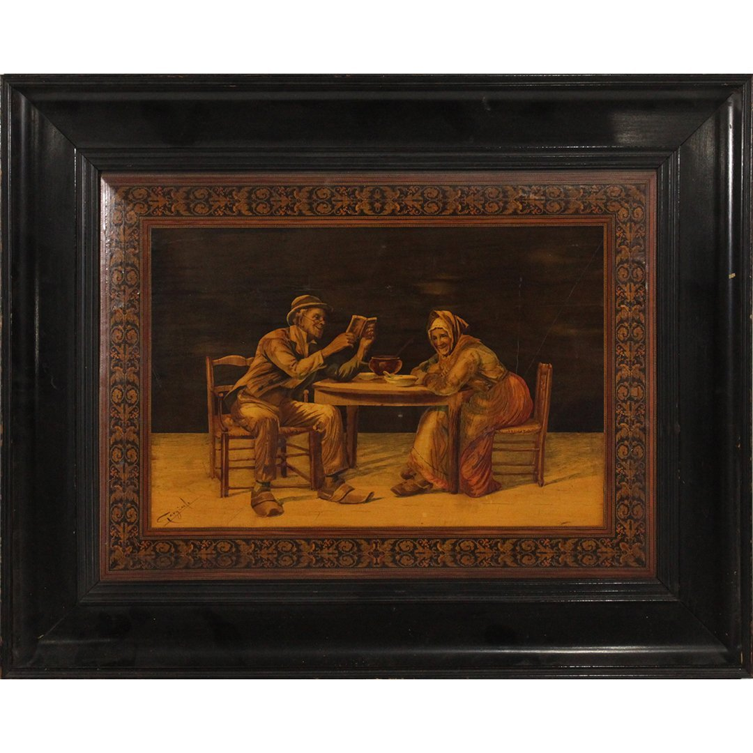 19th C. Quality Italian Marquetry Inlaid Wall Plaque