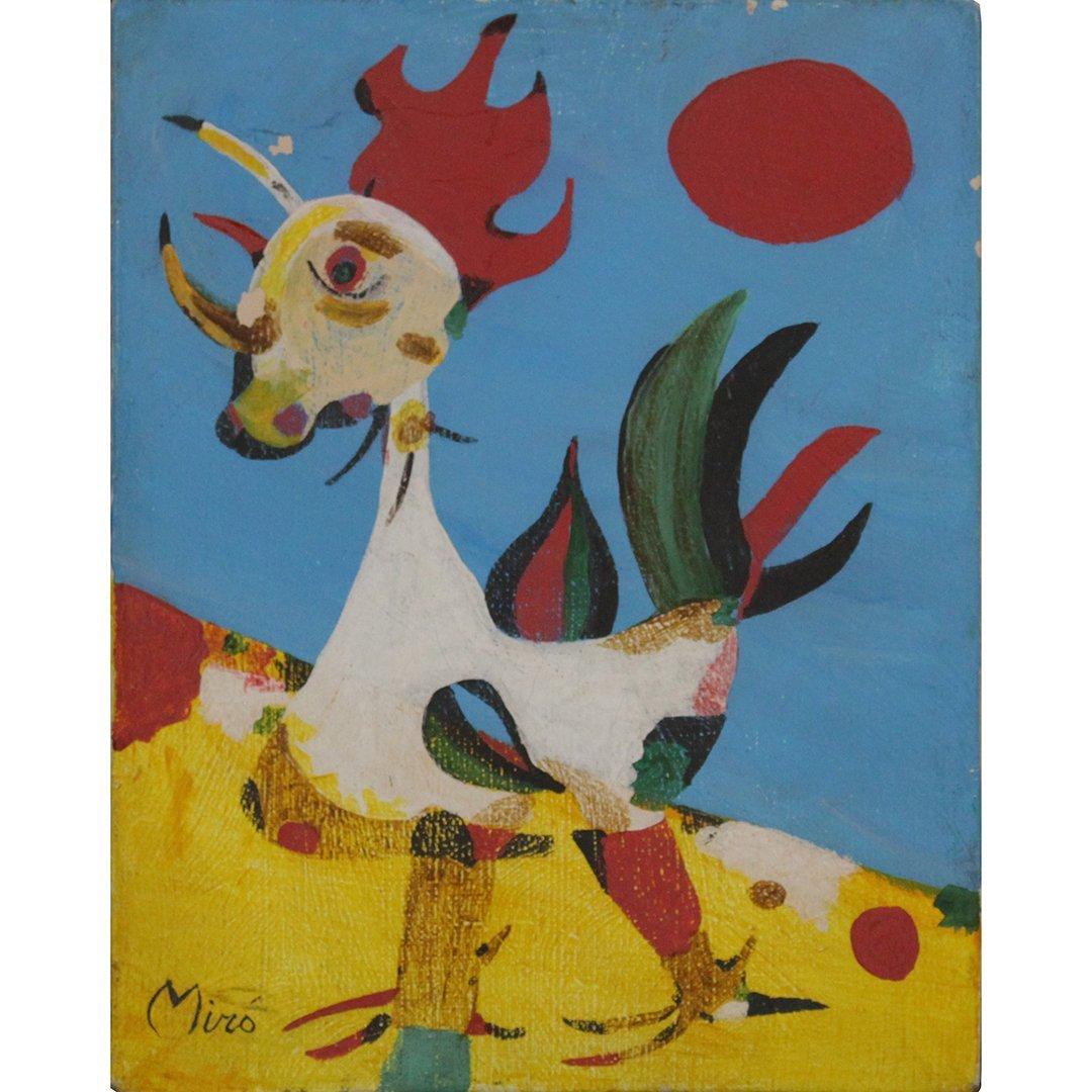 Miro, Mid-Century Modern Rooster Oil on Canvas