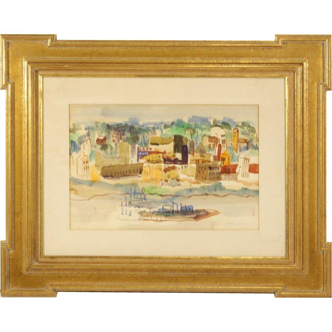 N. EMRICK, Watercolor, Coastal Village, Boat in Bay