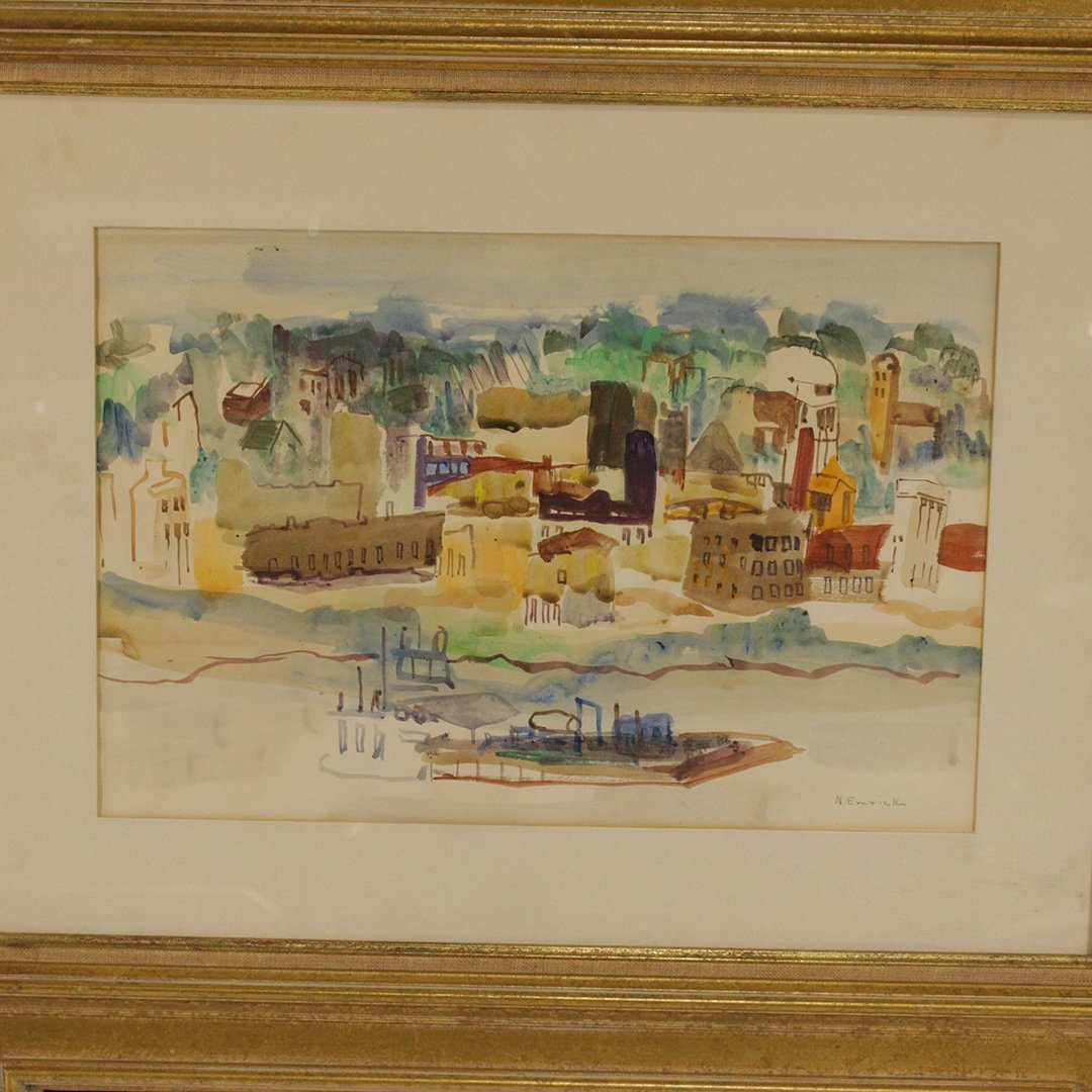 N. EMRICK, Watercolor, Coastal Village, Boat in Bay - 2