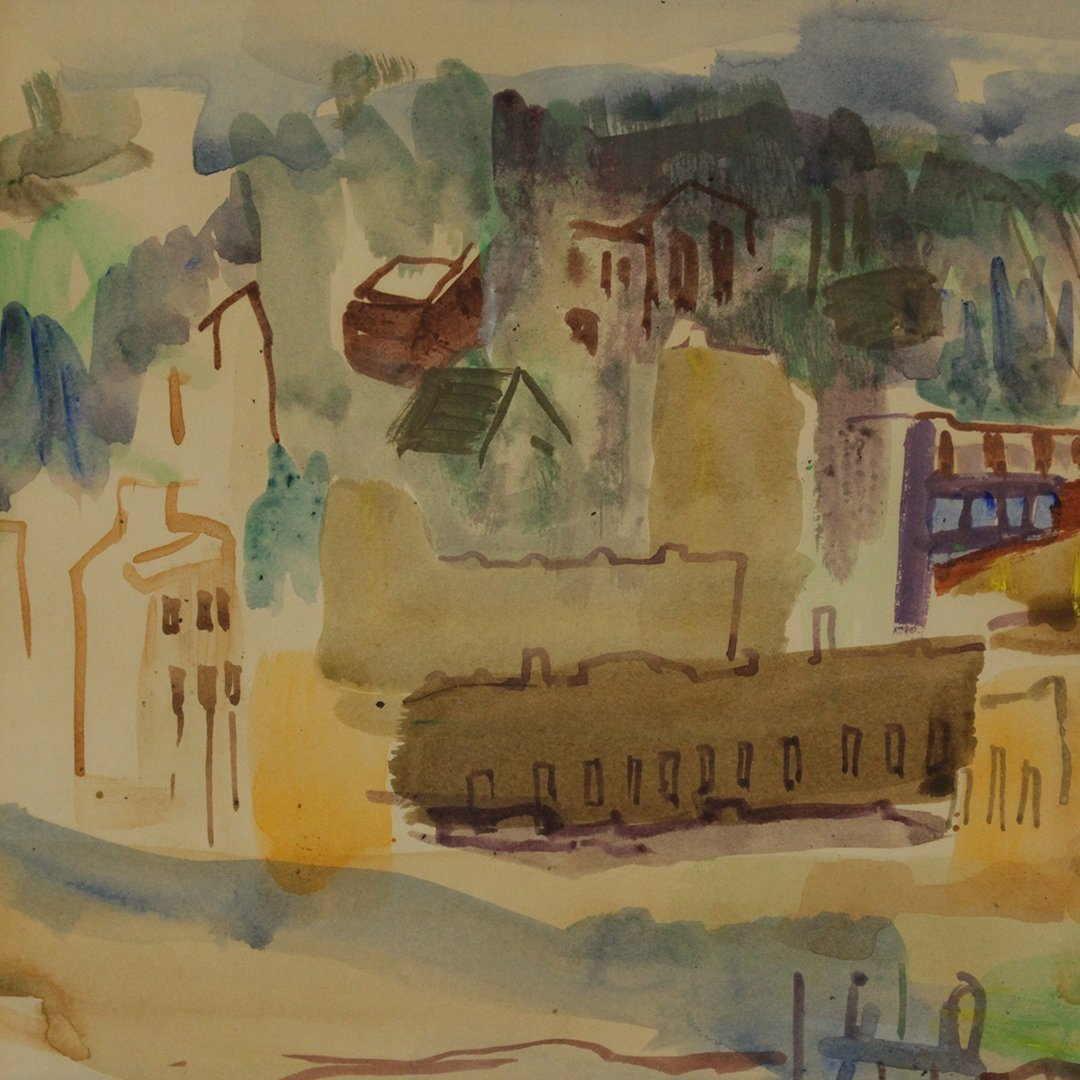 N. EMRICK, Watercolor, Coastal Village, Boat in Bay - 3