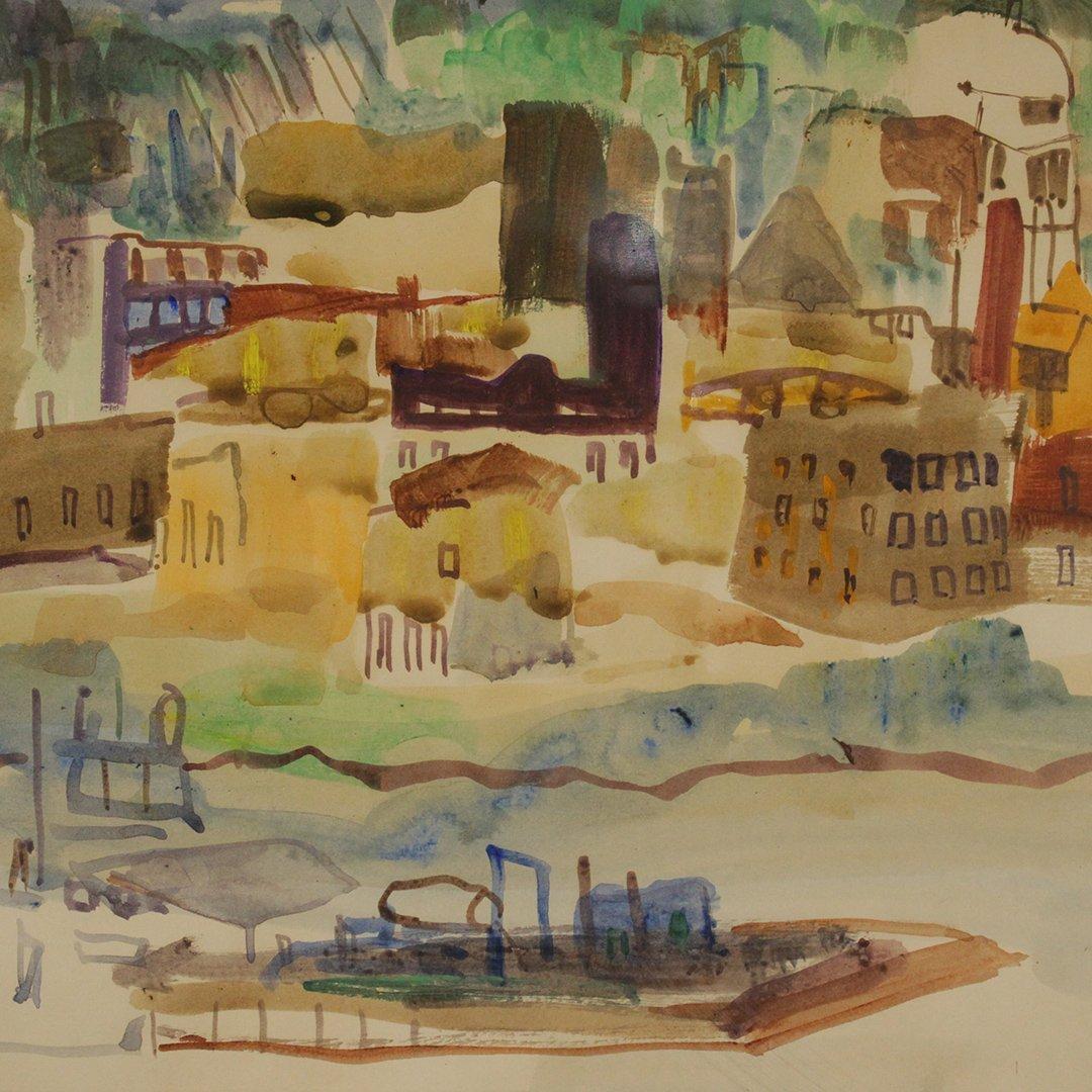 N. EMRICK, Watercolor, Coastal Village, Boat in Bay - 4