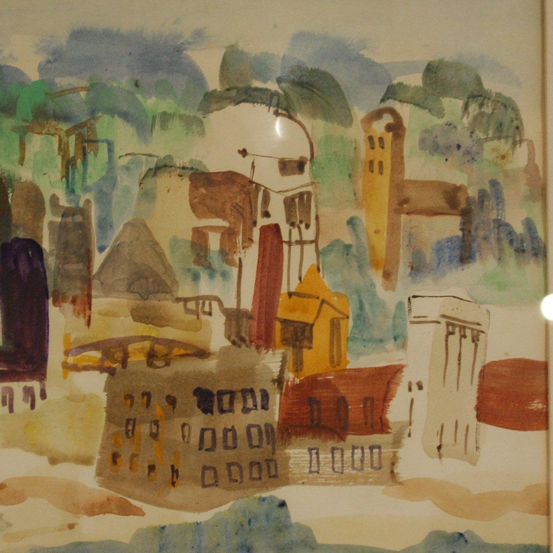 N. EMRICK, Watercolor, Coastal Village, Boat in Bay - 6