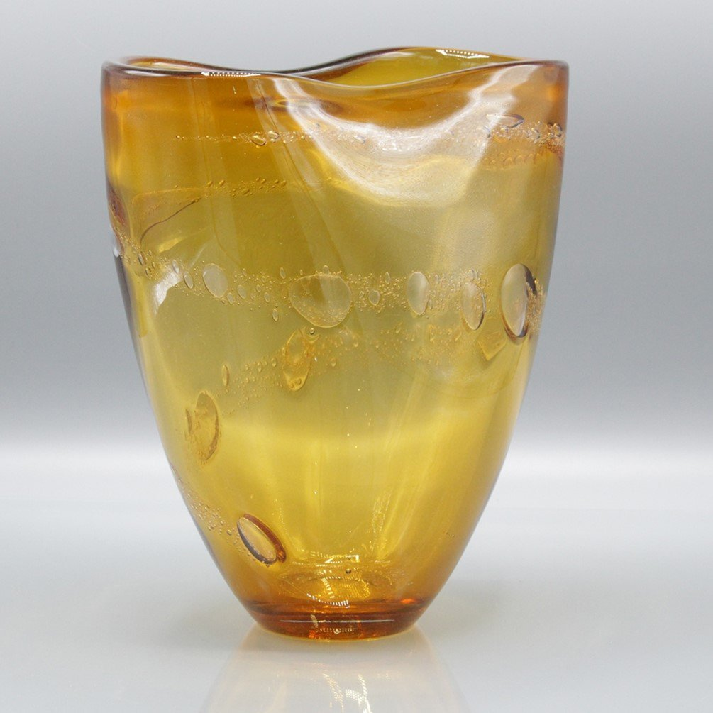 Mid-Century Modern Amber Glass Vase Internal Bubbles