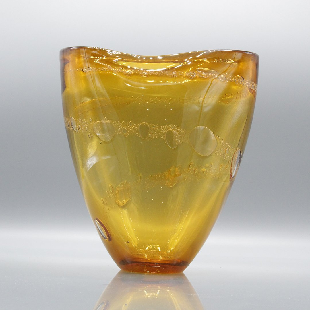 Mid-Century Modern Amber Glass Vase Internal Bubbles - 2