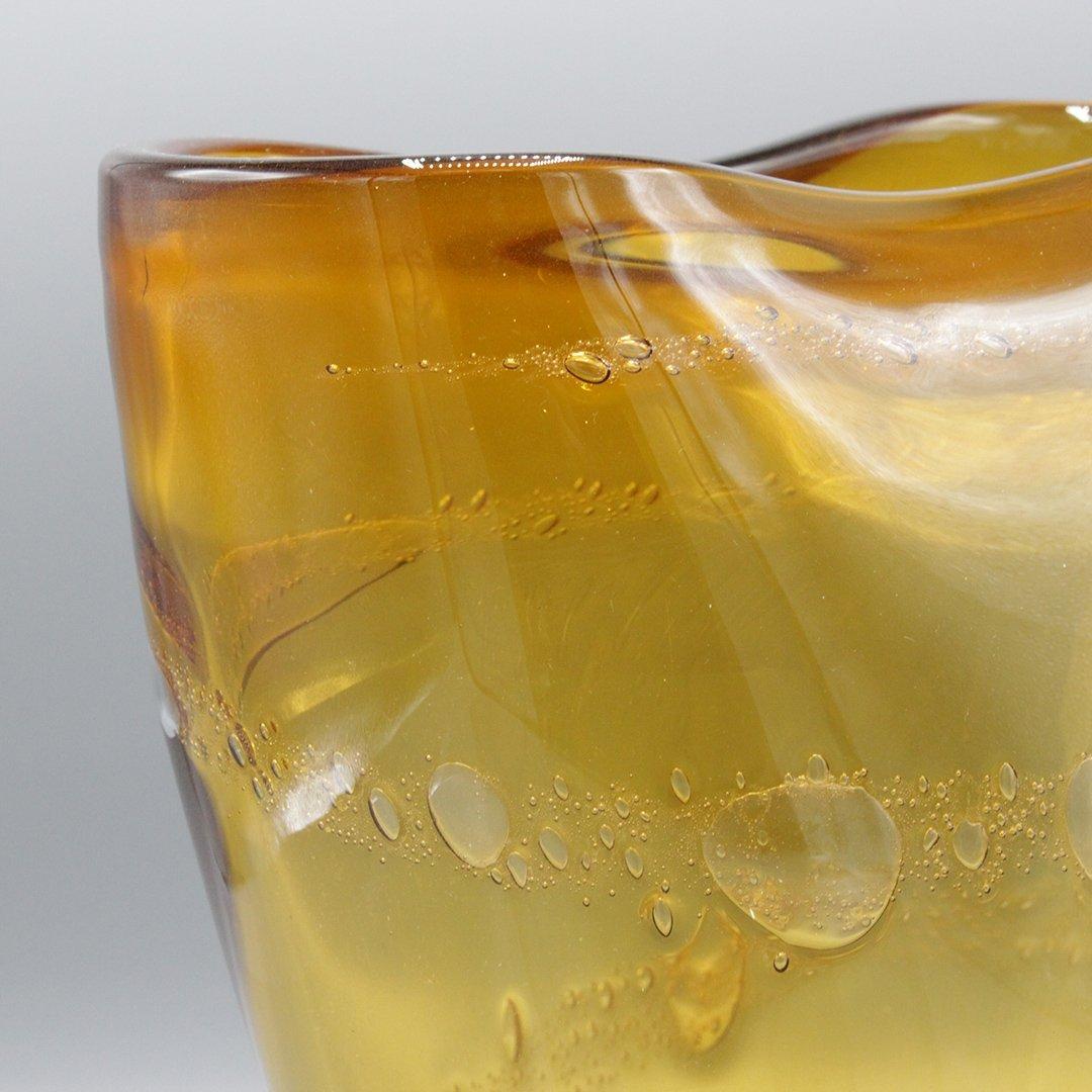 Mid-Century Modern Amber Glass Vase Internal Bubbles - 3