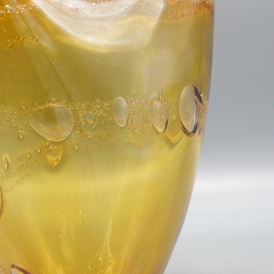Mid-Century Modern Amber Glass Vase Internal Bubbles - 4