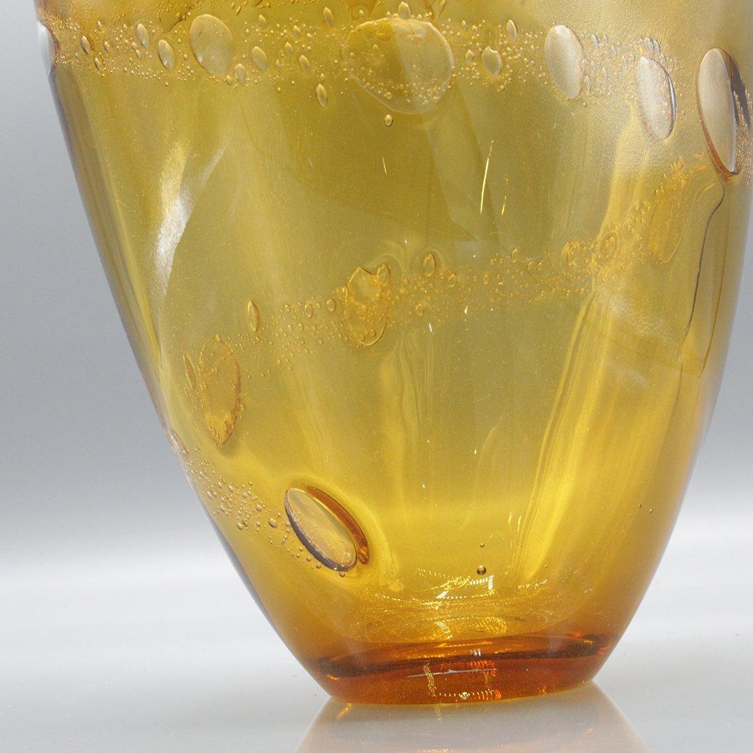 Mid-Century Modern Amber Glass Vase Internal Bubbles - 5