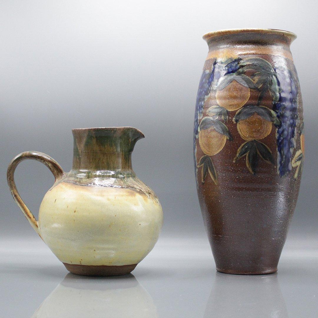 Two [2] P Morris Modern Stoneware Art Pottery