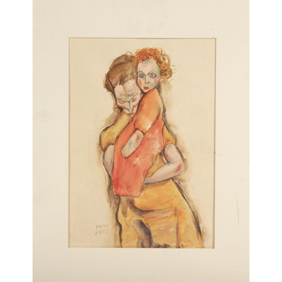 Egon Schiele, Attributed, Mother and Child Watercolor