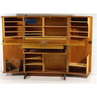 Mid Century Modern Magic Box Folding Desk Full Interior