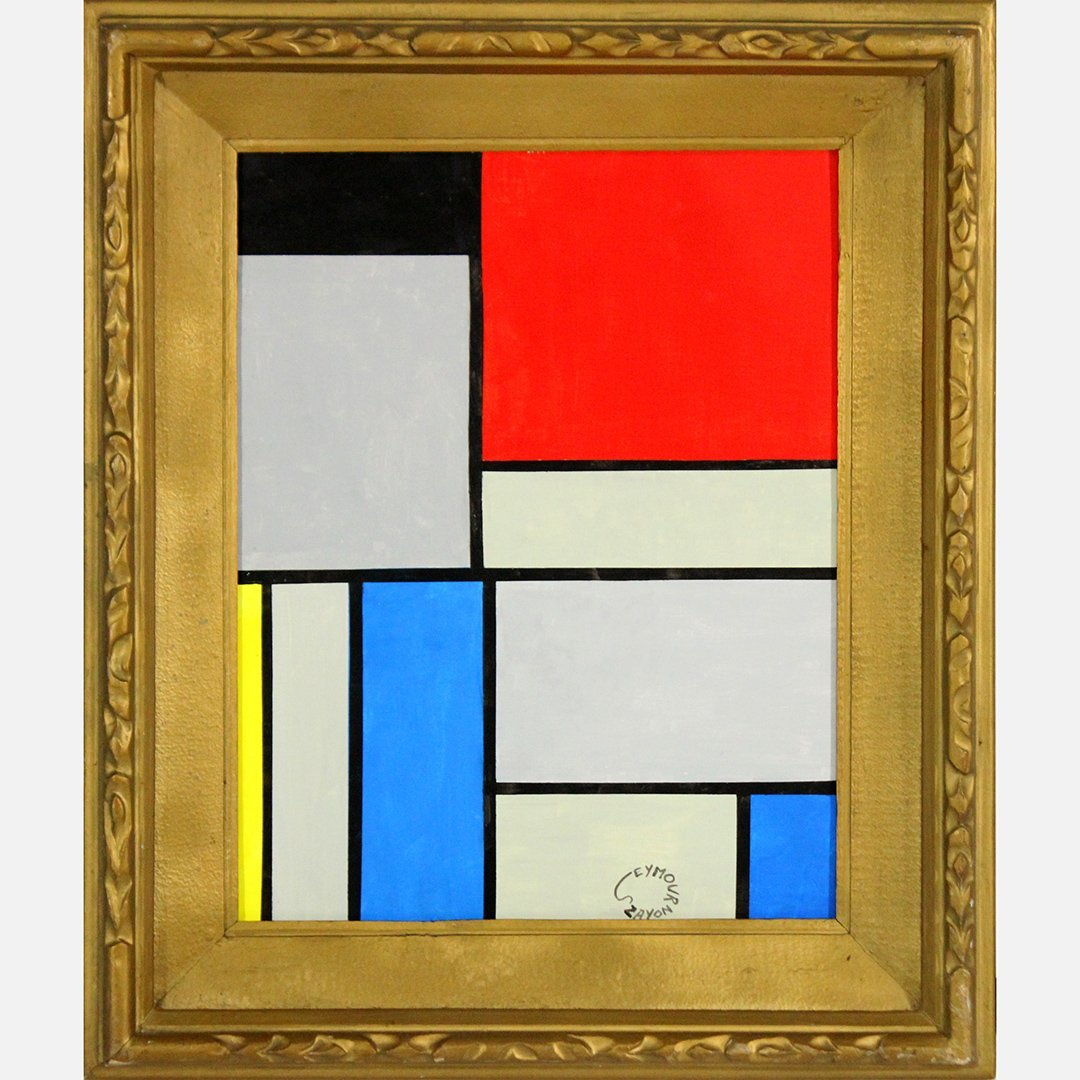 Seymour Zayon, Mid-Century Modern Squares and Lines Oil