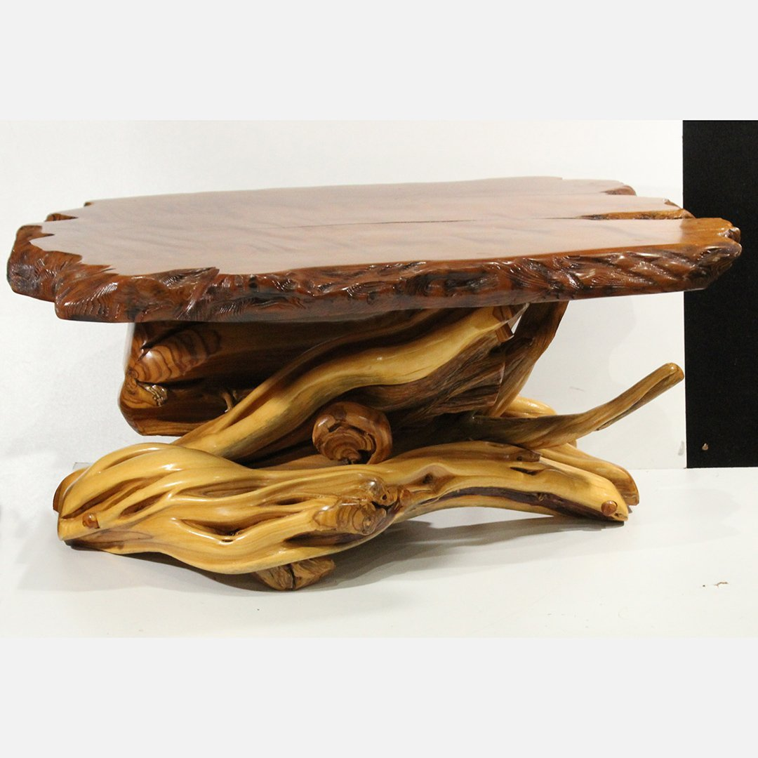 Quality Wood Root Base Coffee Table Polished Wood Top