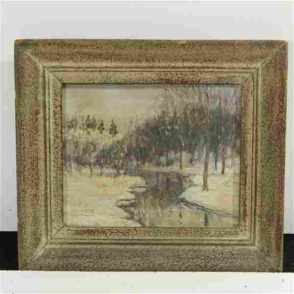 Walter Emerson Baum, Snow Landscape Oil Bucks County PA