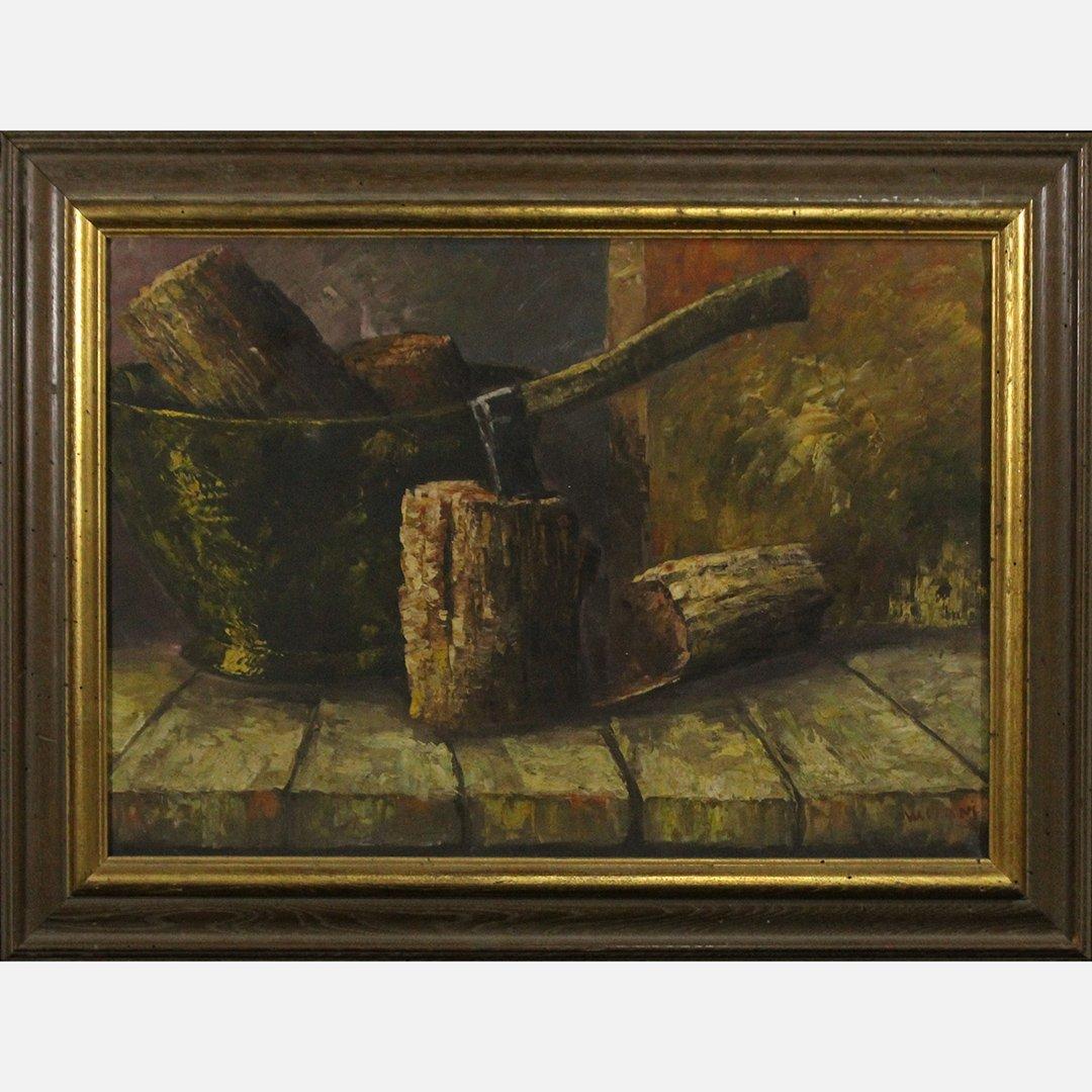 W. Stam; Oil/c, Wood Chopping Still Life