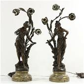 Two [2] Circa 1920 Metal Art Nouveau Girl Lamps 3-Light