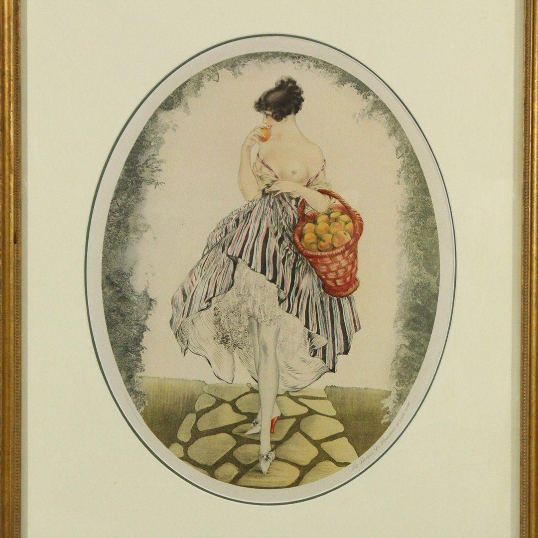 Louis Icart Framed Print, Titled: Le Panier De Pommes