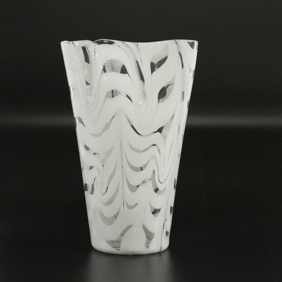 Mid-Century Modern Italian White & Clear Art Glass Vase
