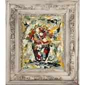 R. Monti, Mid-Century Abstract Still Life Oil Painting