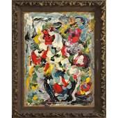 R. Monti, Mid-Century Still Life Abstract Oil Painting