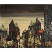 Guillot, Mid-Century Modern Oil /b Village Street Scene