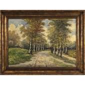 O Cirano, Oil Canvas Painting Road Through Birch Trees