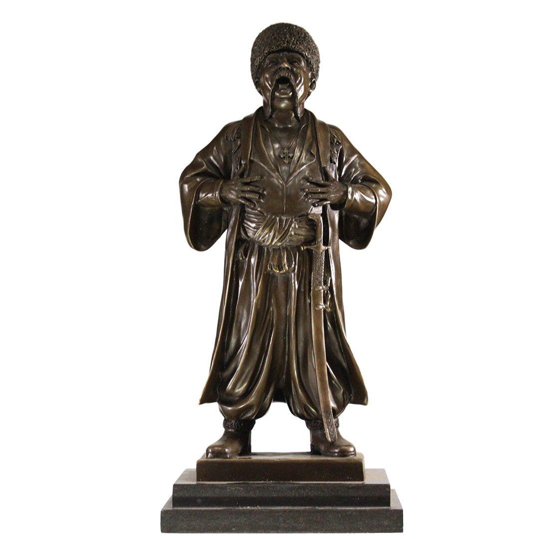 Russian Bronze of Standing Cossack Man Statue