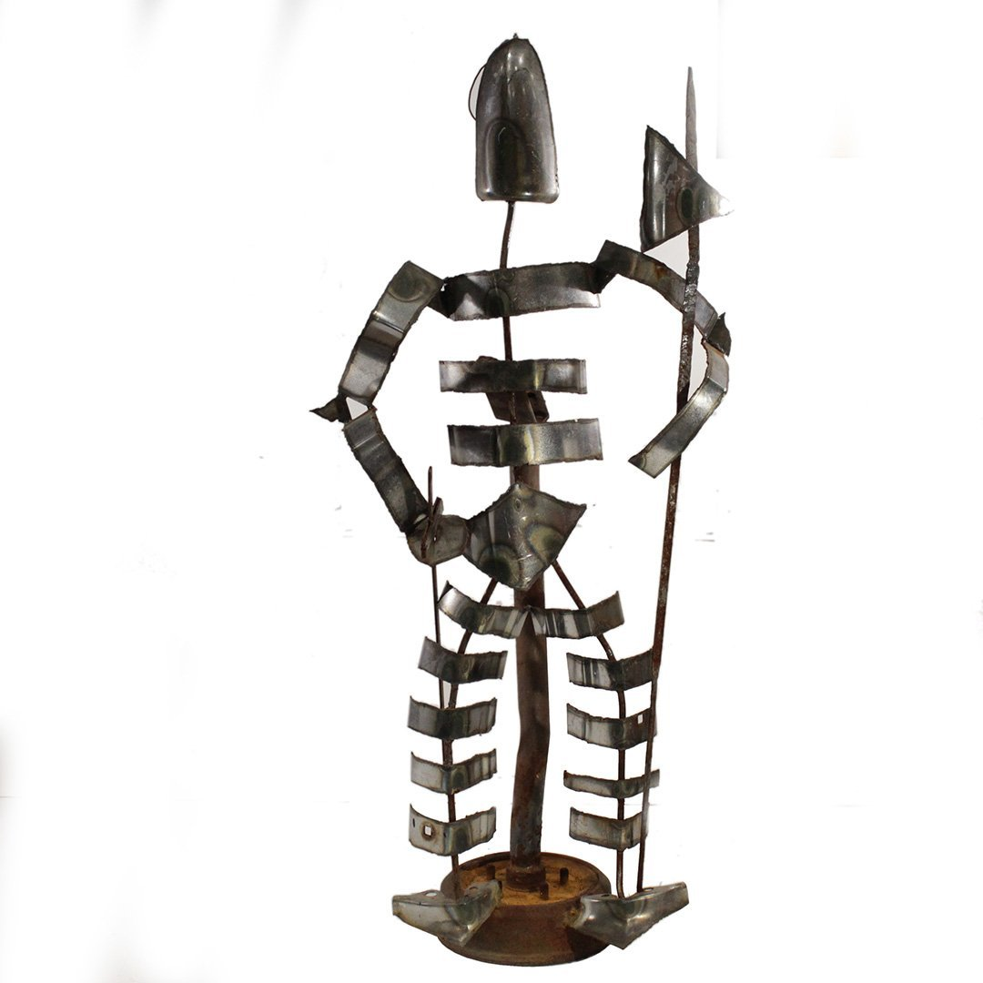 Brutalist Iron / Steel Standing Skeleton Man Sculpture