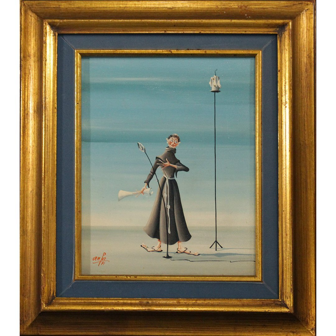 ANPA 1971, Surrealism MONK Oil on Canvas Painting