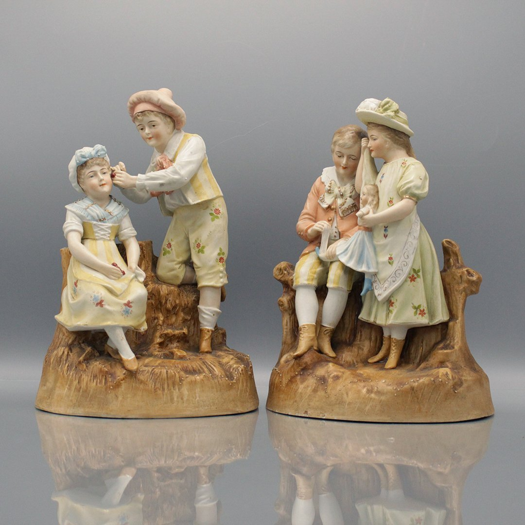 Two [2] 19th C French Porcelain Boy & Girl Groupings