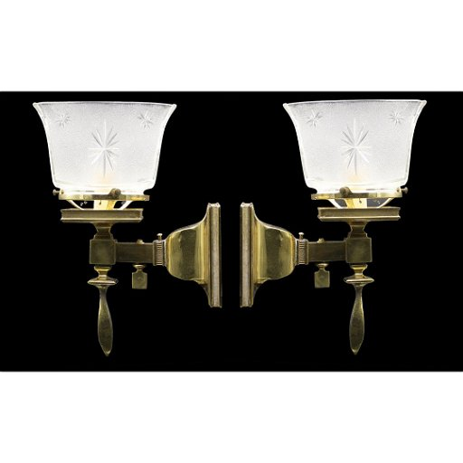 san francisco cc72b e4b13 2 Bradley & Hubbard Brass Gas Wall Sconces Electrified