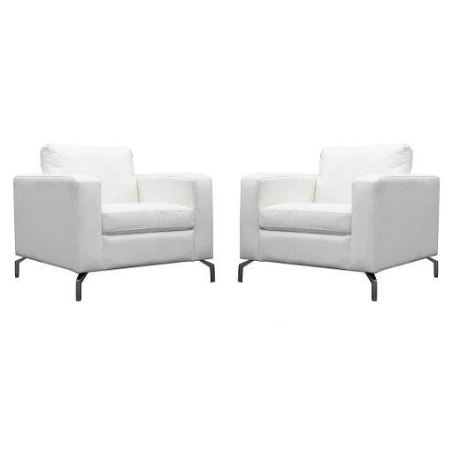 Amazing Two 2 White Leather Italian Modern Design Cube Chairs Creativecarmelina Interior Chair Design Creativecarmelinacom