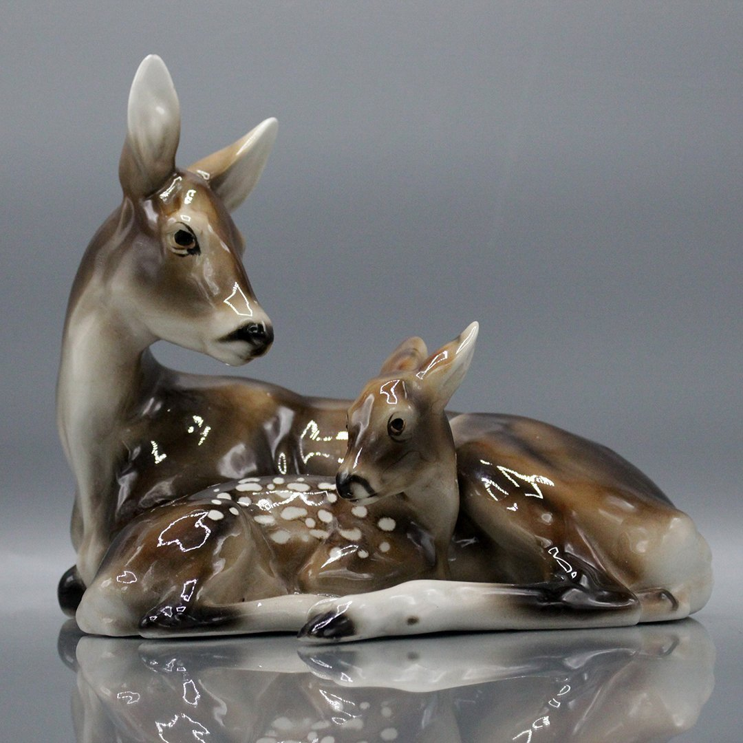 Keramos Vienna Austria Porcelain Deer and Fawn
