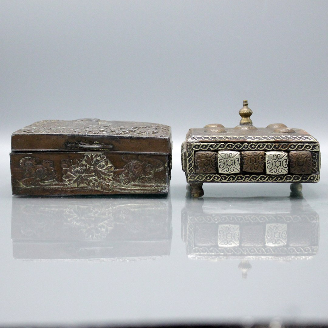 Two [2] Vintage Asian - Islamic Copper Covered Boxes