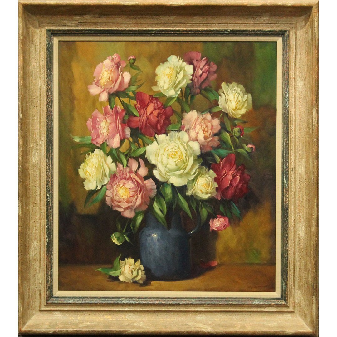 Helmuth Andreas Volkwein Still Life Painting of Flowers