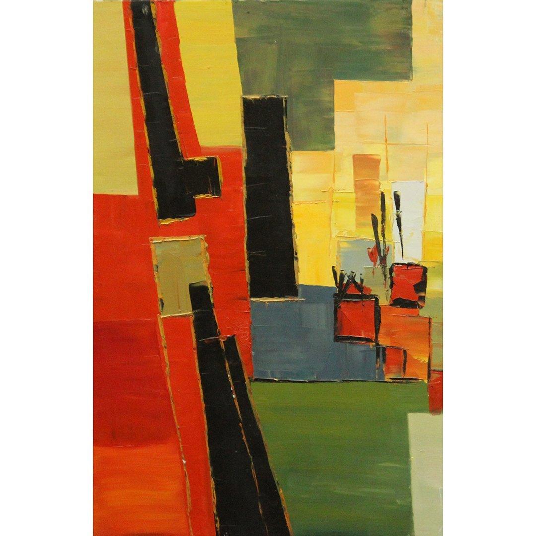 Mid-Century Modern Abstract Painting Geometric